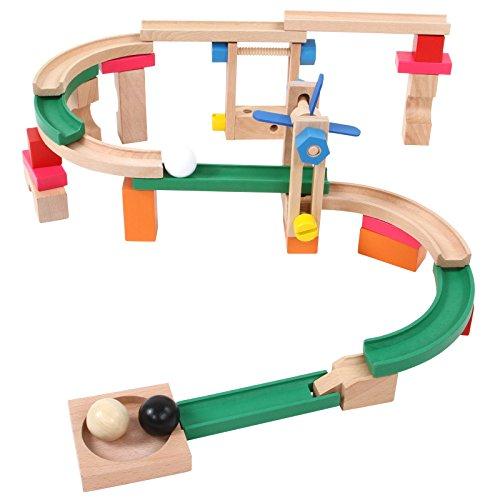 Kugelbahn 46-teilig aus Holz inkl. 3 Kugeln zum Zusammenstecken und Spielen fördert die Motorik, Logik und Kreativität