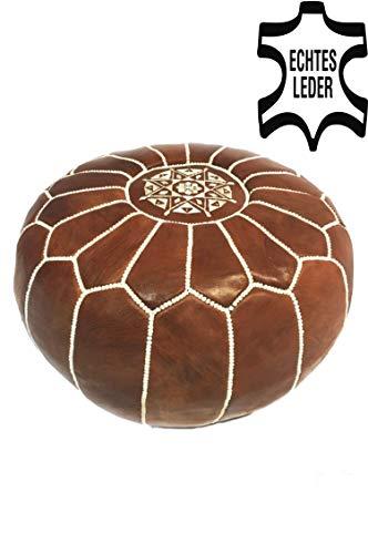 Orientalischer runder Pouf aus Leder ø 50cm Rund 30cm Hoch inklusive Füllung | Marokkanisches...