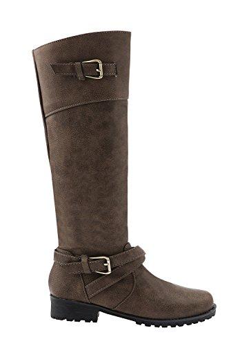Minetom Donna Autunno Inverno Moda Fermaglio Impermeabile Stivali Lunghi Martin Boots Elegante Casuale Piatta Scarpe Stivali Da Neve Esercito Verde