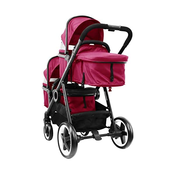 iSafe Tandem Pram me&You - 2 Tone Red (Sienna) iSafe Sleek & Eye Catching Matte Black Chassis, Weighing Only 16Kgs Easy One Second Fold, For Those Parents On The Go Soft Grip Extendable 3 Height Handle, To Suit Parents Of Any Height 5