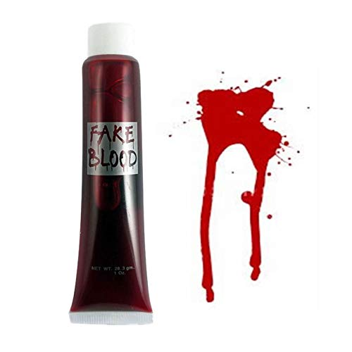 s Limited SHATCHI-1462 Shatchi BLUK kaufen 3 Packungen von Fake Blood Halloween Kostüm Fancy Party Zubehör Make-up Kleid Vampir Zombie Make Up Gesicht Paint Theatrischer Spaß rot ()