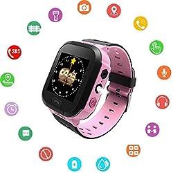 Montre Smart Watch Tracker pour Enfants - Montres intelligentes pour garçons Garçons SOS SmartWatch Anti-Perdu avec Un Jeu de caméra pour des Cadeaux pour Enfants (02 smartwatch Pink)