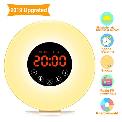 Wake Up Light, Swonuk Wake Up Light Despertador Luz de función Snooze/Sol/Puesta del Sol/Radio FM/6 Sonidos Naturales/7 Colores/10 Niveles de Brillo