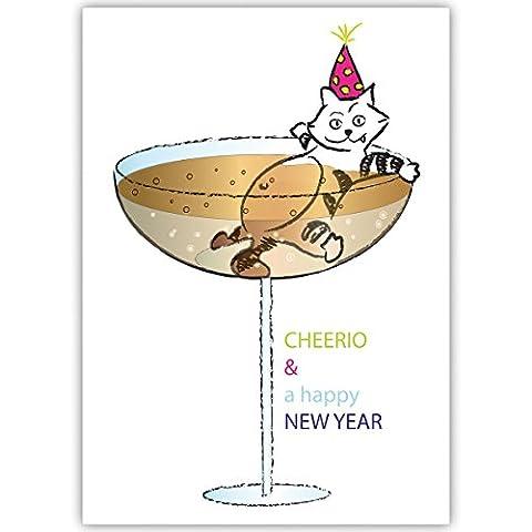 1er Set Lustige Weihnachtskarte mit Katze im Champagner Glas, grün, innen blanko/ weiß auch schön als Weihnachtsgrüße geschäftlich / Firmen Glückwunsch zu Neujahr / Unternehmen Weihnachtskarte für Kunden, Geschäftspartner, Mitarbeiter: Cheerio & a happy new (Katze Weihnachtskarten)