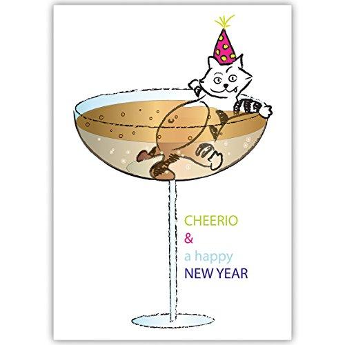 4er-set-lustige-unternehmen-weihnachtskarten-mit-katze-im-champagner-glas-grun-innen-blanko-weiss-al