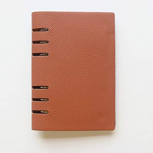 VQEWZ Klassisches Büro Schule Leder 6 Löcher Binder Spiralblöcke Schreibwaren, Feine Persönliche Binder Planer Agenda Organizer Chocolate