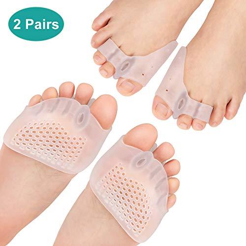 2 Pares Almohadillas metatarsianas para separador de dedos de gel, espaciador de juanetes para los pies con ortesis superpuestas, dedos de martillo, alivio del dolor de juanetes para pies descalzos