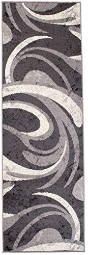 Tapiso Dream Läufer Teppich Flur Brücke Modern Wellen Streifen Linien Tropfen Muster in Creme Grau Wohnzimmer Korridor ÖKOTEX 70 x 250 cm