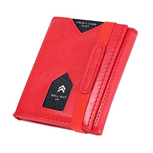 Kogolike portafoglio donna rfid, portafoglio donna piccolo sottile, trifold portafoglio donna slim pelle, tasca con cerniera monete, porta monete (rosso)