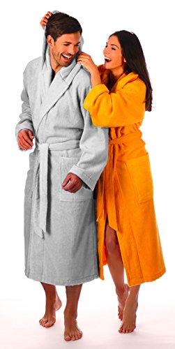 Egeria DALLAS Damen- und Herrenkapuzenmantel-Bademantel, in weiß erhältlich, 100% Baumwolle, Gewicht: 360 g/m² white