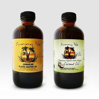 Jamaican Black Castor Oil 8oz. & Extra Virgin Organic Coconut Oil 4oz. by Sunny Isle JBCO