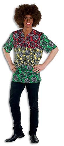Krieger Kostüm Dschungel - L3301190-58-A grün-rot-gelb Herren Afrikaner Kostüm Afro Hemd Gr.58