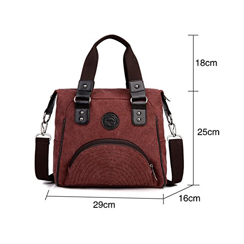 HeHe - Borsa da donna a tracolla da spalla di tela Mutil Function Bag Female Crossbody Bag Borse Tote Borse a mano Rosso