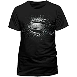 T-Shirt (Uomo Black -XX) Superman Man of Steel - Erroded