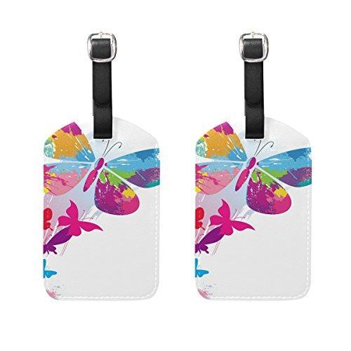 COOSUN Schmetterlinge und Linie Bürsten Kofferanhänger Reisentiketten Tag Name Kartenhalter für Gepäck Koffer Tasche Rucksäcke, 2 PCS (Schmetterling A-linie)