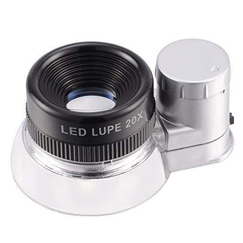 Radvihay Lupe Lupen-Lupe-6 LED beleuchtet 20-fache Vergrößerung Augenteil Lupe, Vergrößerungsbereich, Juwelier, Münzsammlung, Sammeln von Briefmarken, Arbeit in der Nähe, Sammlergeschenk