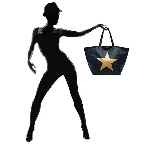 Caspar Ts1017 Borsa Da Donna Grande Xl Con Stella Dorata Blu Scuro