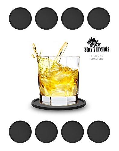 8x Silikon-Untersetzer Profiqualität lebensmittelecht Bar-Zubehör(8 Stück) Gummiuntersetzer für Bar, Küche, Wohnzimmer, Schwarz,Prime-Day (Runde Tisch Terrasse Tischdecke)