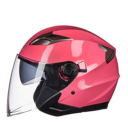 LPC Casco da Motociclista Elettrico Adulto Casco Doppio Casco Mezza Maschera Casco retrò Traspirante Moda Casual Confortevole Moda (Size : XL)
