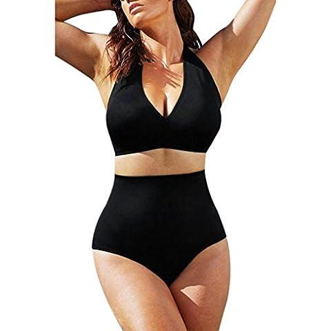 Toraway Las mujeres empujan hacia arriba el sujetador del bandeau con relleno de cintura alta del bikini traje de baño Talla extra