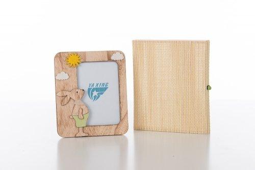 Cuorematto bomboniere solidali 2017 cuorebunny portafoto legno 10x15 coniglio verde bimbo astuccio bambu battesimo