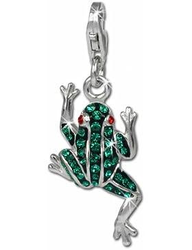 SilberDream Glitzer Charm Frosch grün Zirkonia Kristalle Anhänger 925 Silber für Bettelarmbänder Kette Ohrring...