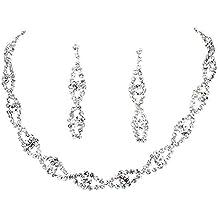 Colgantes Con Pendientes Con Collar Retorcido Diamante Imitado Joya Cristal Boda Fiesta