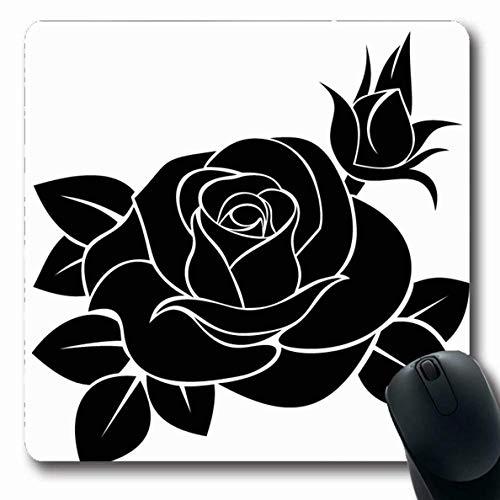 Luancrop Mousepads Blatt Blume Schwarz Rose Natur Vintage Floral Tattoo Knospe Schablone Weiß Stempel Design Kontur rutschfeste Gaming Mouse Pad Gummi Längliche Matte -