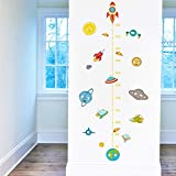 Cartoon Solar System Rocket Height Measure Wall Stickers for Kids Rooms Outer Space Wall Decals Growth Chart Mural Wall Art A