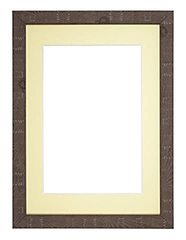 Deep Rustic Range Photo frame/picture frame/poster frame with Bespoke Mount with an MDF backing board - Walnut Frame with Ivory Bespoke Mount - 16