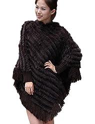 Fur Story 070121 Para Mujer Largo Real Pelo de Conejo Estola