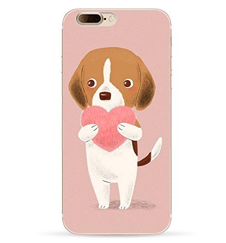 iPhone 7 Handyhülle Schutzhülle Hülle Silikon Cover Case 4.7 Ultra Slim Ultradünn Etui aus TPU transparent (Hund)