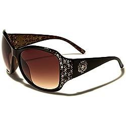 KLEO Rectangular Moderno Mujer Gafas de sol Estrás Estampado Leopardo Completo UV400 Protección GRATIS Vibrante Cabaña Bolsa INCLUIDO - Marrón/Marrón Lentes, one size