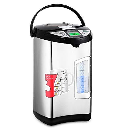 monzana Heißwasserspender digital Timer 3,5 Liter - 750W | Edelstahl Gehäuse | 360° Drehbar | Warmhaltefunktion | Wasserkocher Wasseraufbereiter Thermopot