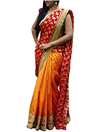 Kaavi Fab Women's Georgette Yellow And Red Thread Work Designer Saree