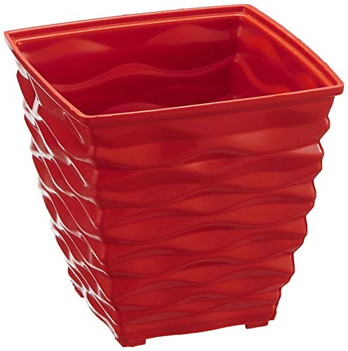 Klassic Plastic Square Planter Set (Small, Red, Pack of 4)