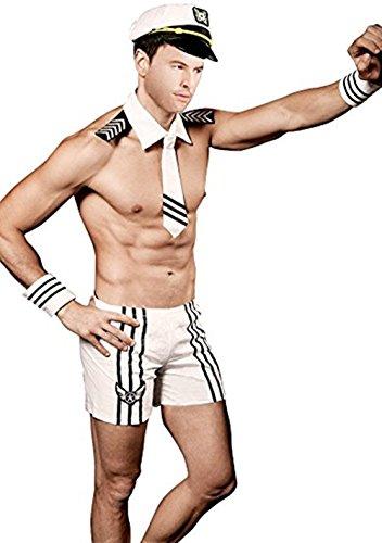 VENI MASEE Männer Sailor Seemann Party Kostüm Cosplay Outfit (Packung mit 1 Satz)