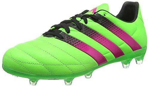 adidas Herren Ace 16.2 FG/AG Leather Fußballschuhe Grün (Solar Green/Shock Pink/Core Black) 44 EU