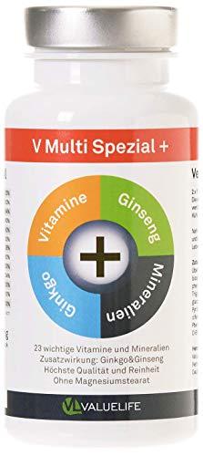 VALUELIFE Multivitamine A-Z I Tägliche Vitaminversorgung mit allen wichtigen Vitaminen & Mineralien plus Ginkgo Biloba & Ginseng I vegan & hochdosiert I 90 Kapseln