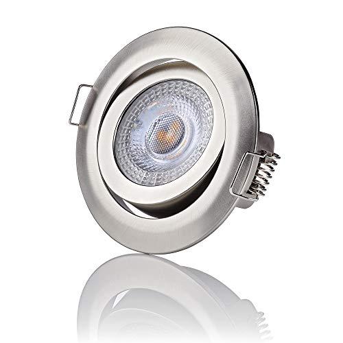 sweet-led 6erPack Three(3)-STEP-Dimming LED Einbaustrahler dimmen ohne Dimmer Decken Einbauleuchte dimmb.weiß/chrom-nickel rund warmweiß schwenkbar Einbauspot 3000K 5W 230V 400Lumen(6erXchrom-nickel) -