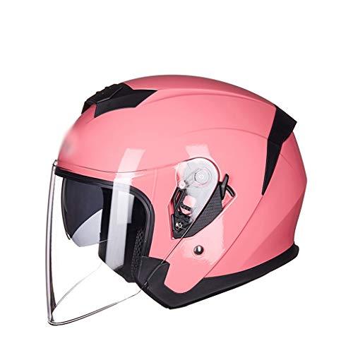FEIYUESS Motorradhelm Männer Und Frauen Vier Jahreszeiten Universal Doppelscheibe Anti-Fog Transparente Anti-UV Schutzhelm (Farbe : Pink 1)