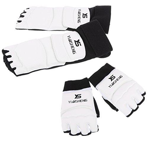 Sharplace Gardes de Pieds + Gants pour Taekwondo Karaté Boxe Muay Thai Durable