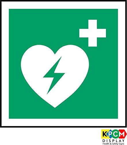 Anmeldung ISO Safety International Automatisierter externer Defibrillator Symbol - Selbstklebende Aufkleber 100mm x 100mm -