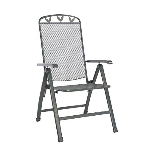 greemotion Klappsessel Toulouse eisengrau, Stuhl aus kunststoffummanteltem Stahl, Gartenstuhl mit...