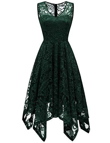 df84d68a0e982 Meetjen Damen Elegant Spitzenkleid V-Ausschnitt Unregelmässig Vokuhila  Kleid Festlich Cocktail Abendkleid DarkGreen XS