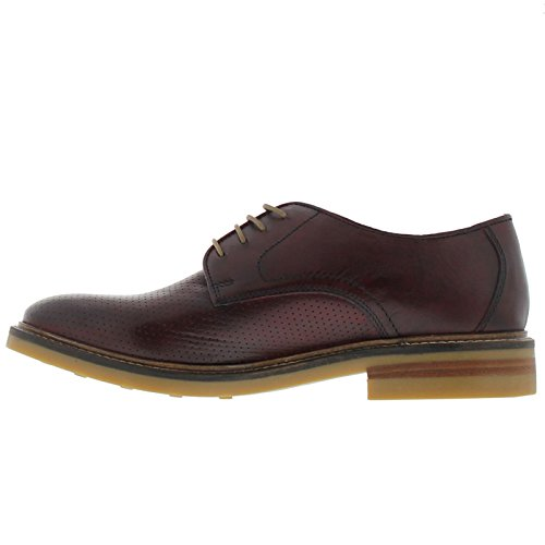 Base London Uomo Stanford Washed Perforated Shoes, Rosso Rosso