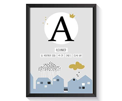 chenk zur Geburt für Baby Jungen mit Bilderrahmen | verschiedene Farben und Motive | A4 Kunstdruck Kinderzimmer ()