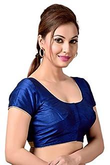 d48210f9147ff Studio Shringaar Navy Blue Faux Silk Smart Blouse With Golden Lace Trim