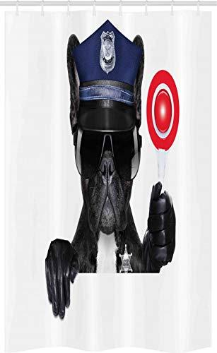 Polizei Authentische Kostüm - ABAKUHAUS Tier Schmaler Duschvorhang, Mops Hund Polizei Kostüm, Badezimmer Deko Set aus Stoff mit Haken, 120 x 180 cm, Schwarz und Blau