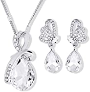 Elegant Unique Butterfly Jewelry Set For Women - 18K White Gold Plated Crystal Necklace & Earrings Set - B